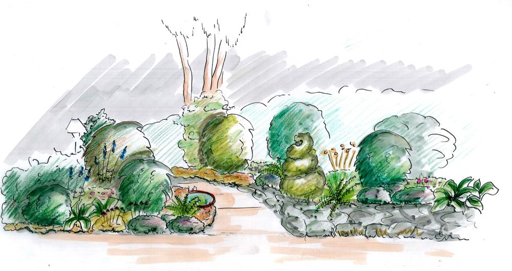 Garten design hamburg terrassenbeet - Garten zeichnung ...